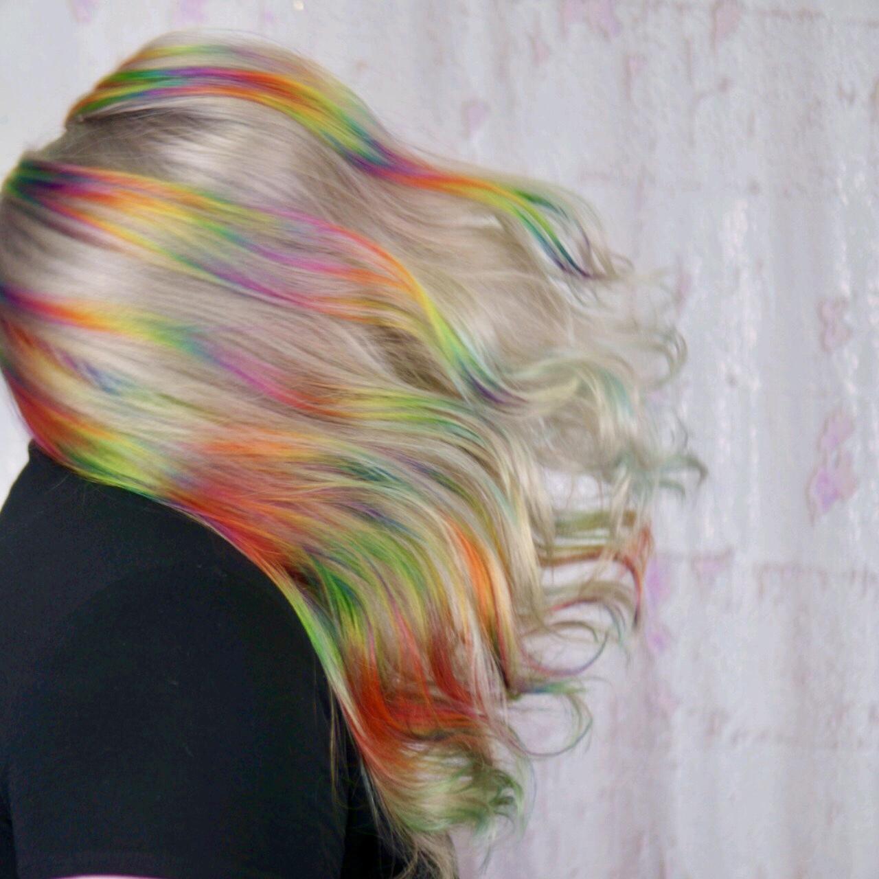 Platinum Blonde Rainbow hair- Virginia Beach Hairstylist