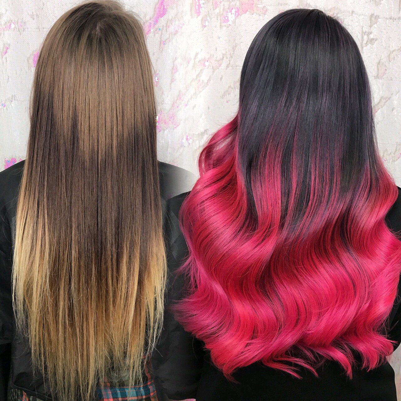 Gray and Pink ombre hair color