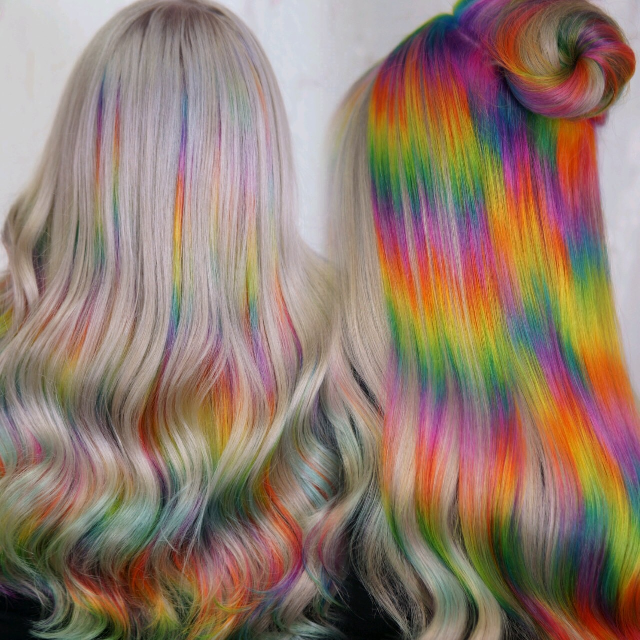 Platinum Blonde neon rainbow haircolor