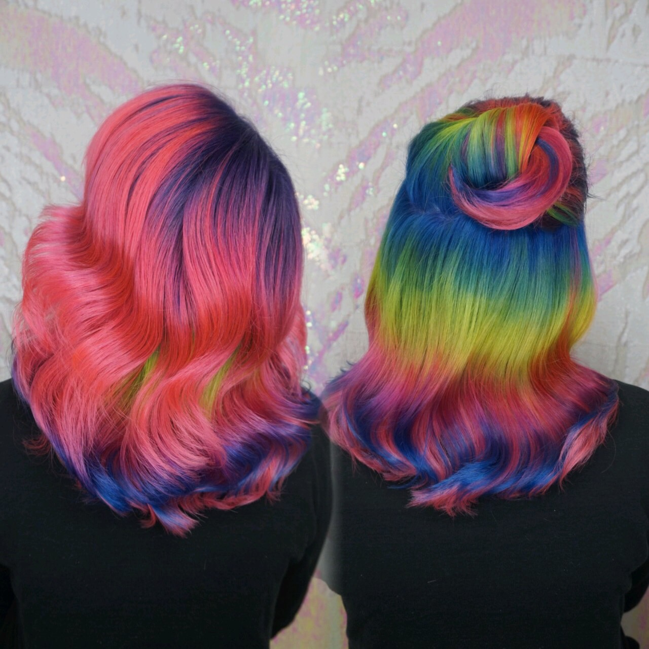 Pink and Rainbow Hair Cryistal Chaos