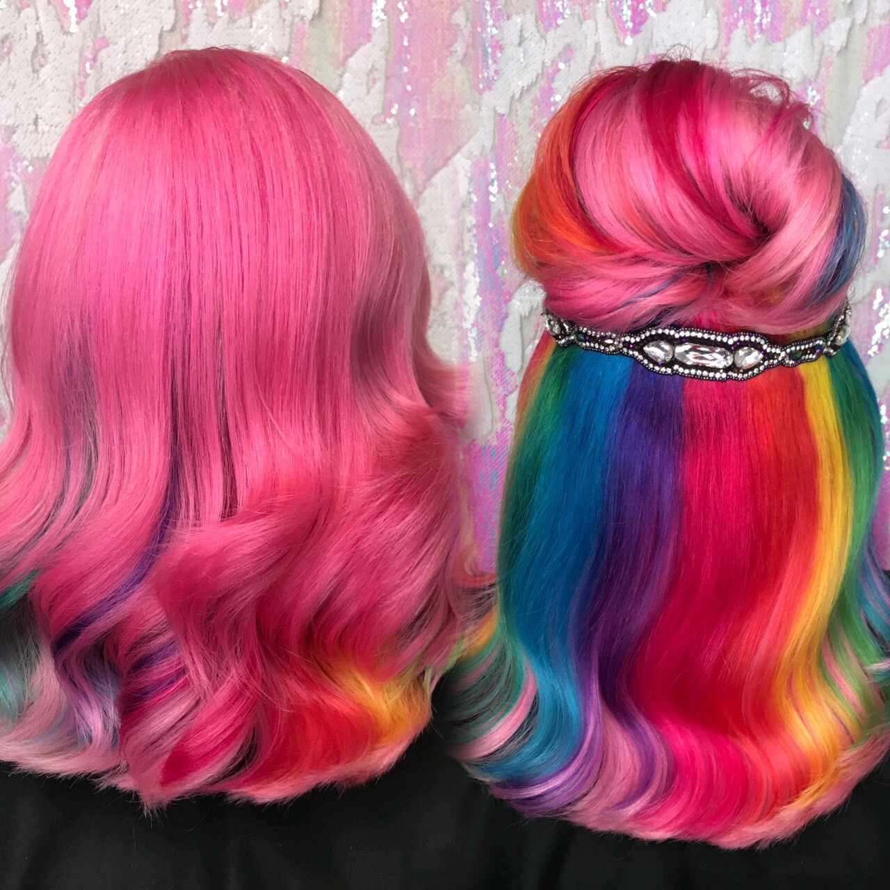 Pink hidden rainbow hair