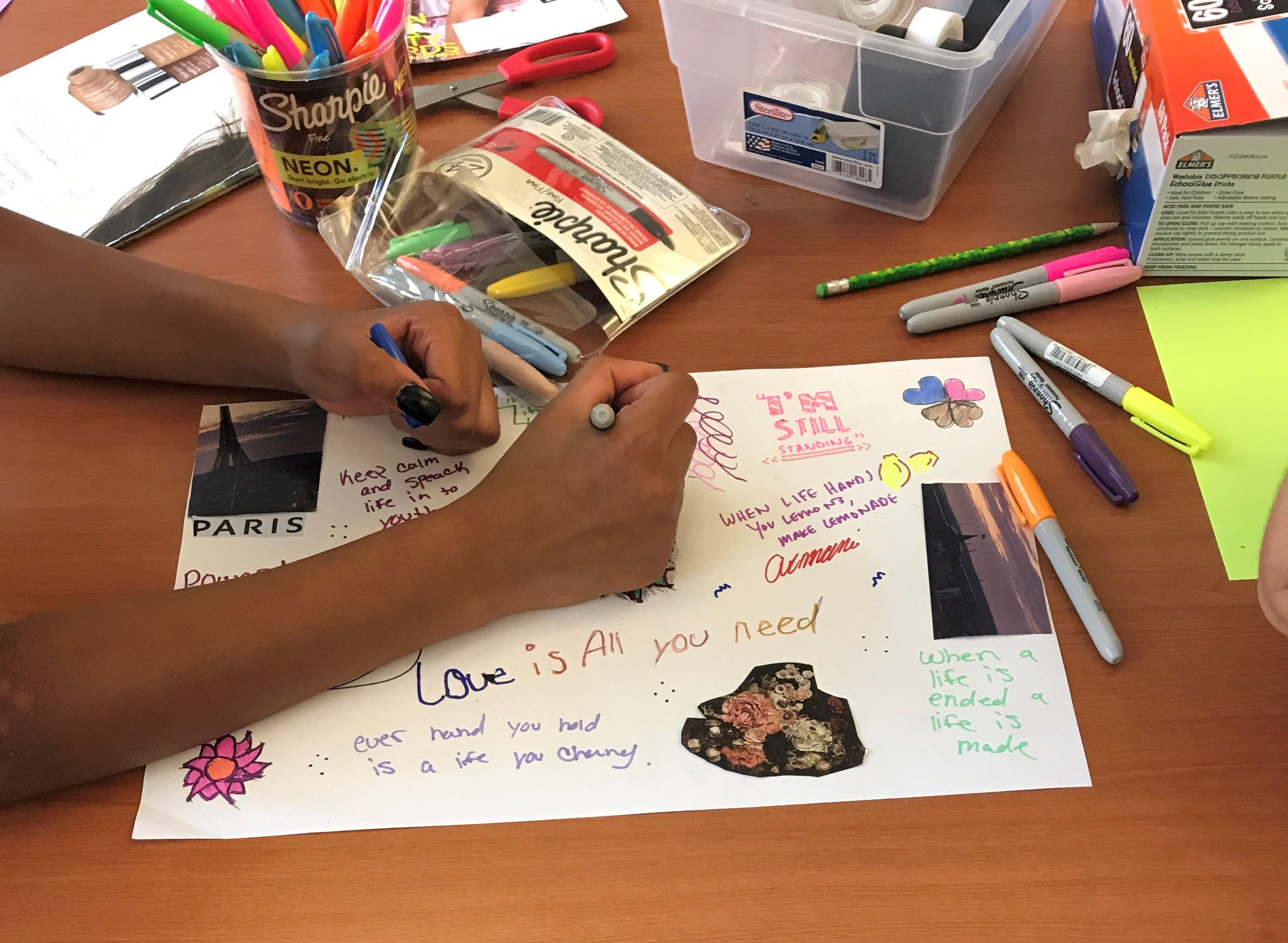 By conducting a collaging activity with youth, we were able to learn more about their aesthetic preferences. One very helpful insight this revealed was that our youth gravitate towards words, phrases, images, and colors that are positive and uplifting. The big themes were survivorship, love, and power.