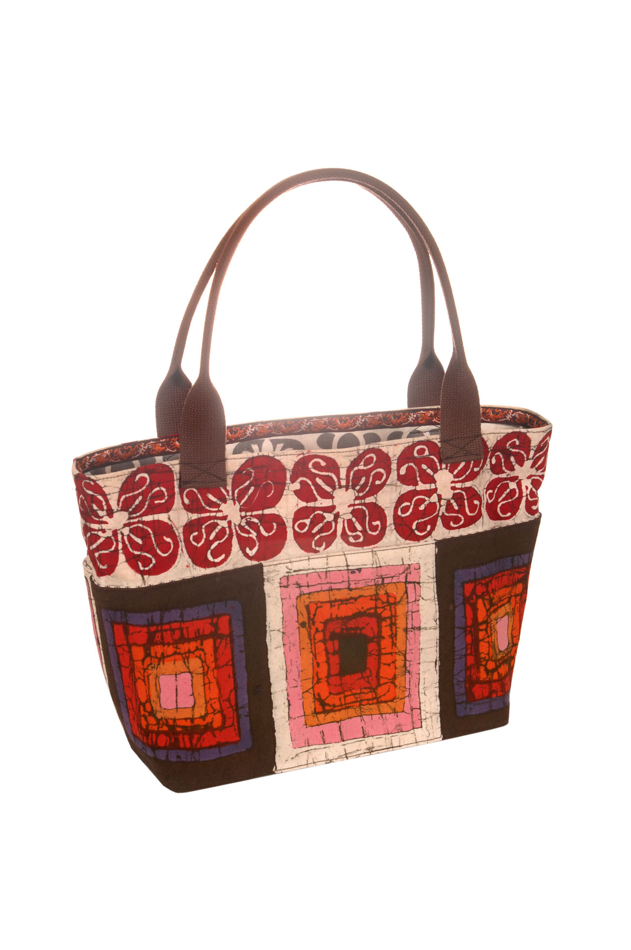 Laura Stacy, Purse with Reds and Browns.jpg
