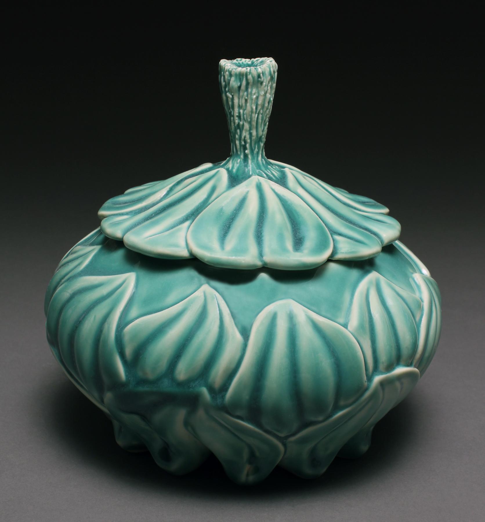 Lynnette Hesser, Oxy Blue Carved Jar for B Metro  Article.jpg