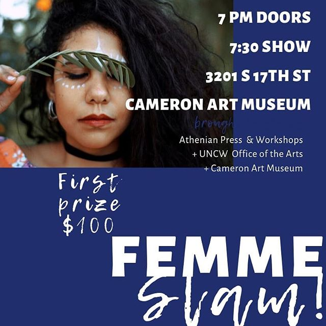 Tonight it goes down!! Don't miss the Femme Slam, featuring DJ @kara.ljo Lacie Jay and @nada_problem, Druzy, and Joy James! @livitythepoet!! Tell all your friends to come get crab cakes, wine specials, and more!!! Cameron Art Museum- 7:30pm!!!