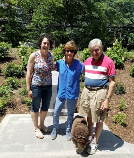 Earlier this summer, on July 4, I was on a bike ride through Riverway Park in the Emerald Necklace and came upon Governor and Mrs. Dukakis taking a look at the plaque that was recently dedicated to them. (My parents are also on the plaque!) Governor Dukakis has been a longtime champion of connecting North and South Stations to facilitate rail travel within Massachusetts and regionally.  See a recent piece about this effort.