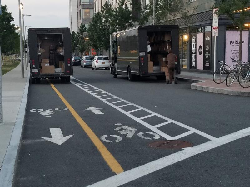 Spurr Street, Allston, MA. UPS driver blocks bike lane with truck.