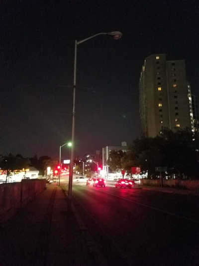I noticed more than one streetlight out in this area, making for very dark, dangerous, uncomfortable conditions.