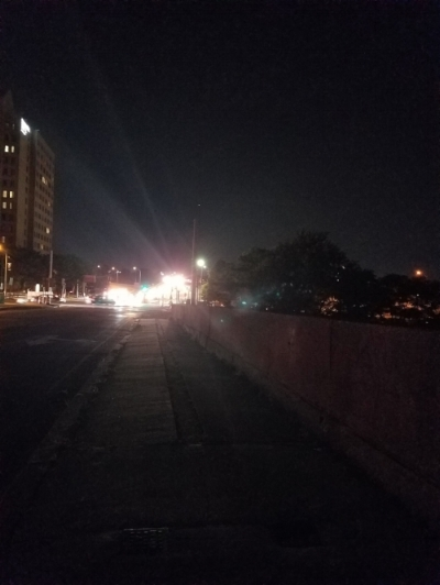 River Street Bridge, Cambridge. Lack of working streetlights contributes to unsafe conditions for people driving, walking, and biking.