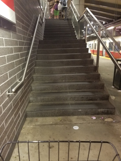 Wish there was a bike railing along the steps at the MBTA stations so I could roll my bike up the stairs as I walk up them.