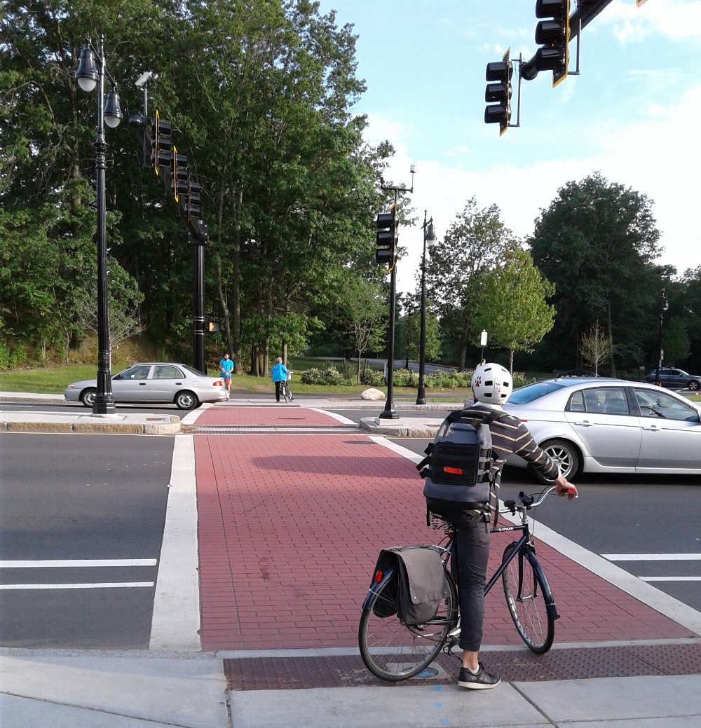 The new Route 9 crossing in Brookline, connecting Olmsted Park to the Muddy River. Photo courtesy of Stef Komorowski of Jamaica Plain.