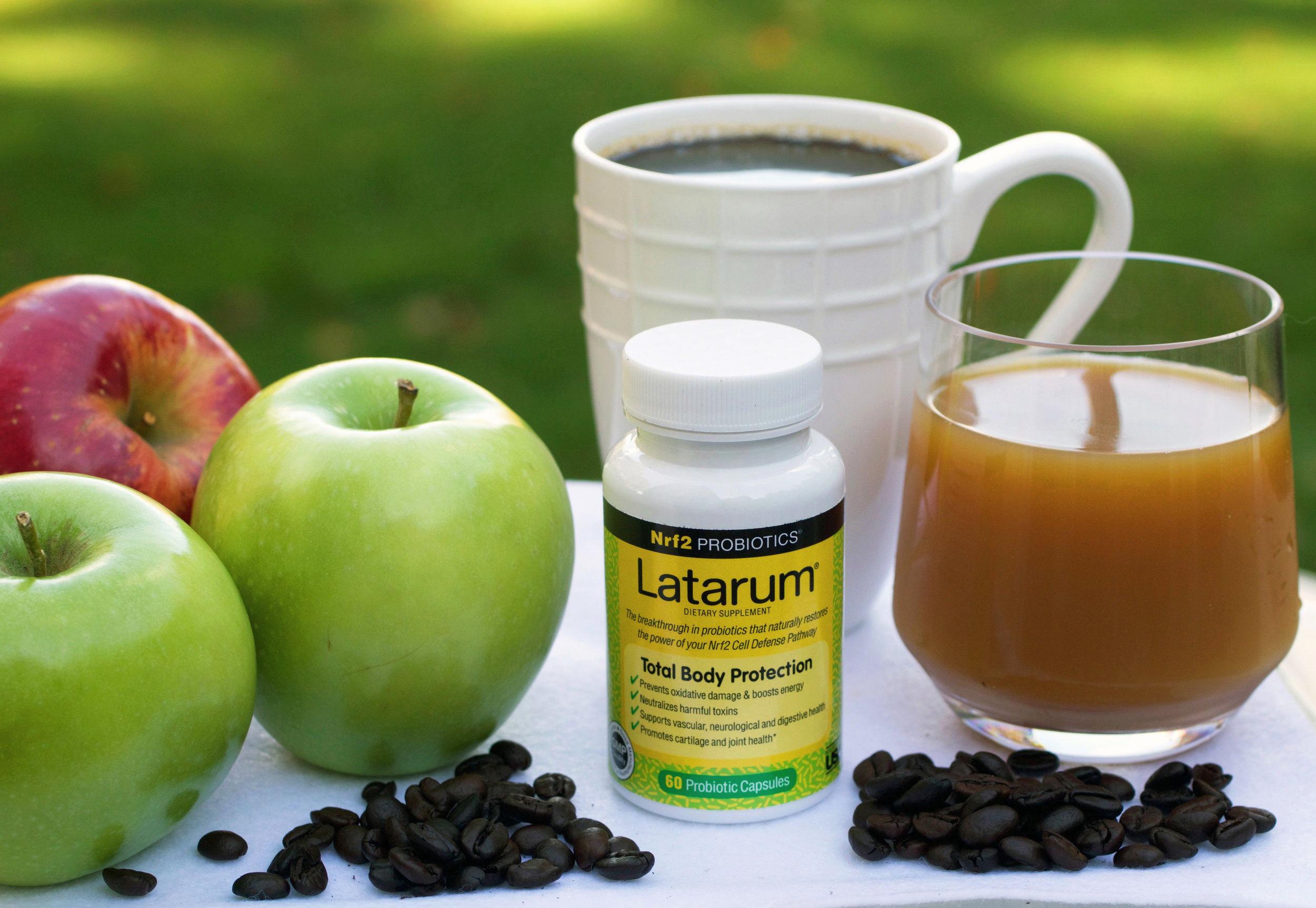 Take Latarum® twice a day, in combination with a diet that contains coffee, apples, apple cider, or other apple products, or a diet that's rich in other fruits and vegetables,