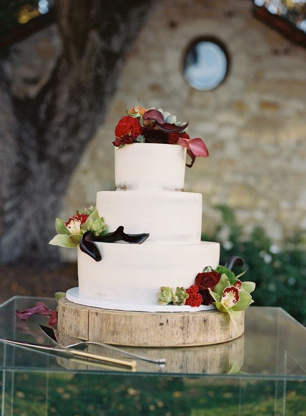 Cake: Raspberry Red Velvet & MoonBeam Cream Wedding Coordination:  Lux & Jasper  Photography:  Braeden Photography  Venue:  Holman Ranch