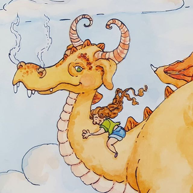 Progress on a new illustration! . . #illustration #illustratorsofinstagram #editorialillustration #ink #wip #watercolor #childrensbookillustration #dragon #kidsbooks #kidlit #kidlitillustrator #bookstagram #scbwi #kidlitart #childrensbooks