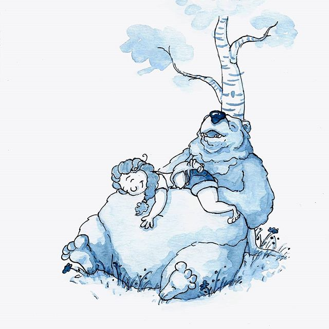 Inktober Day 7! Yesterday's theme was exhausted. . . #illustration #illustratorsofinstagram #inktober2018 #inktober #exhausted #ink #bear #editorialillustration #childrensbooks #childrensbookillustration #bookstagram #scbwi #kidlitart #kidlit #kidlitillustrator #kidsbooks