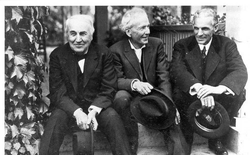 L to R: Thomas Edison; Luther Burbank; Henry Ford (1915)