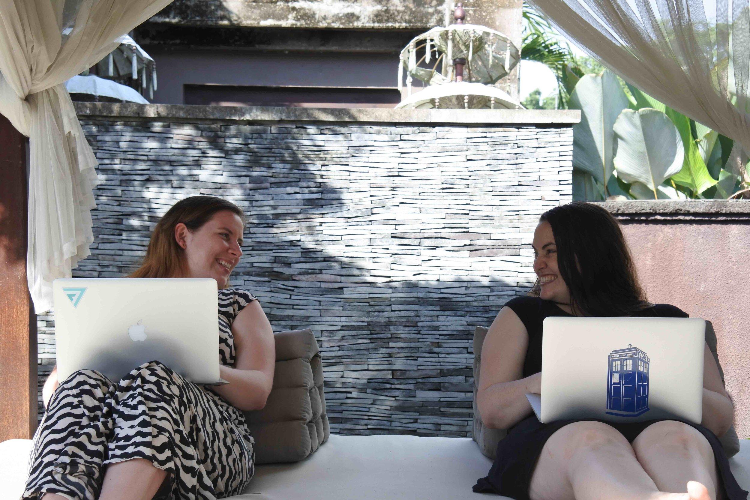 Viv + Kit hanging out in Bali <3