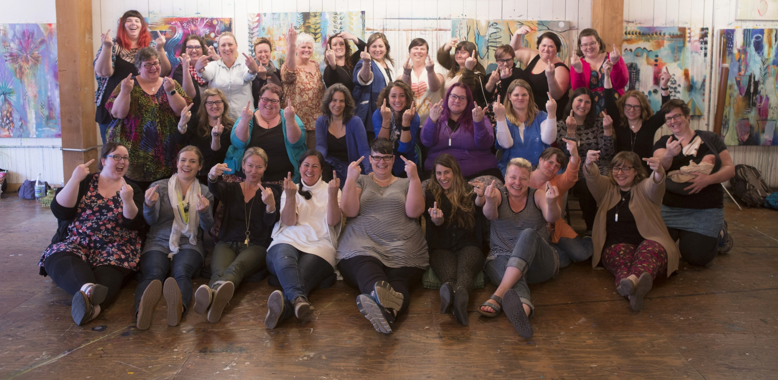 This is one of my communities! Have you ever seen so many people happy to flip off the camera? We have all been trained for the Body Trust® Provider Certification through Be Nourished. *I recognize this community is overwhelmingly white. Hilary Kinavey and Dana Sturtevant, the creators of the certification are very aware and diligently working to cultivate an environment that is supportive and welcoming to people of color. Photo by Vivienne McMaster