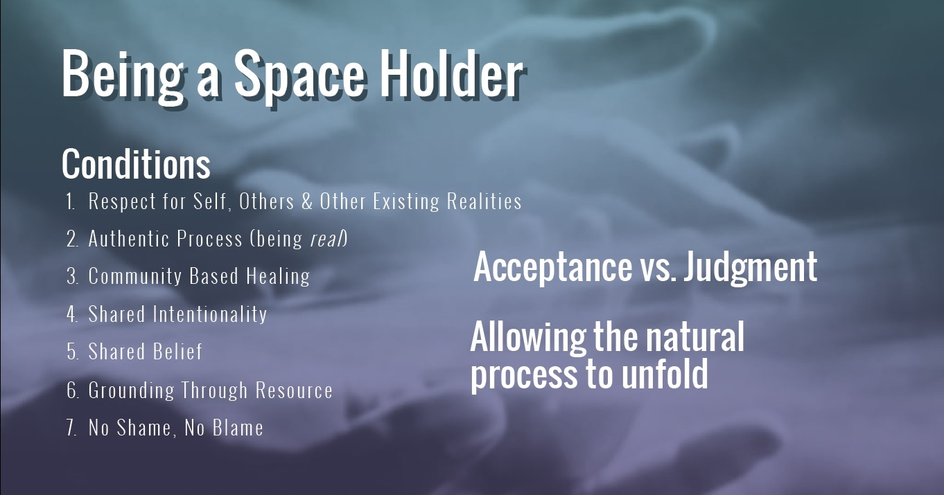 Slide sharing what it means to be a space holder and how holding space supports the healing process