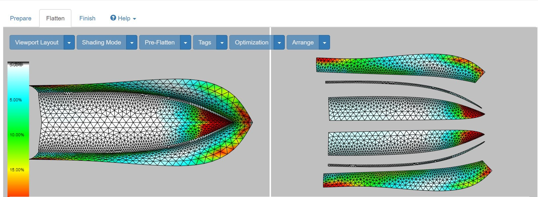 ExactFlat unique algorithms simulate the actual material behavior and provide visual information on strain,the biggest factor impacting pattern fix.