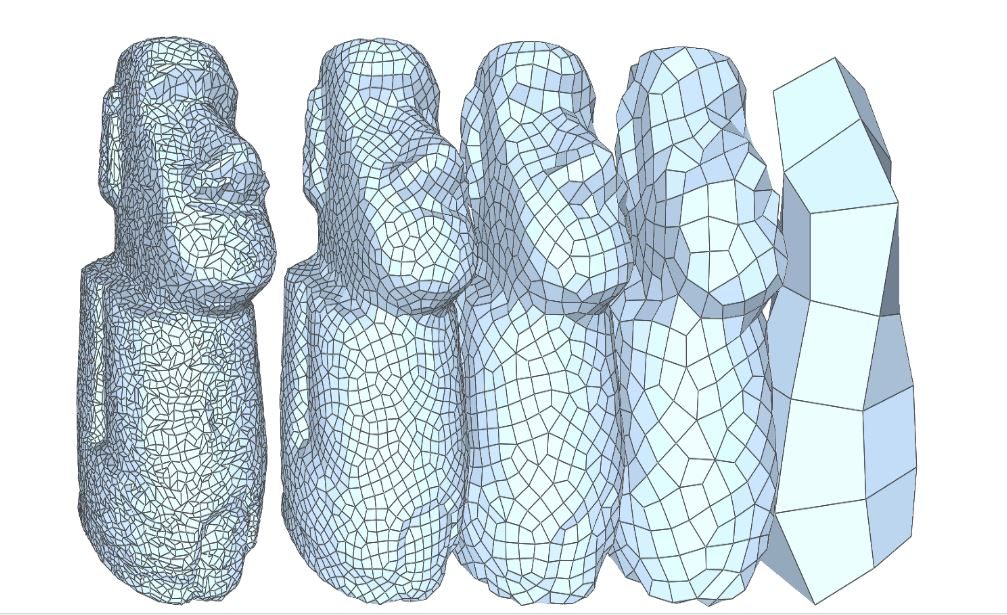 The image shows the sample model with varying degrees of tessellation.Mesh tools within the CAD package are used to convert the 3D design model into a format ready for flattening. Several conversion factors affect the margin of error between the design model and the mesh