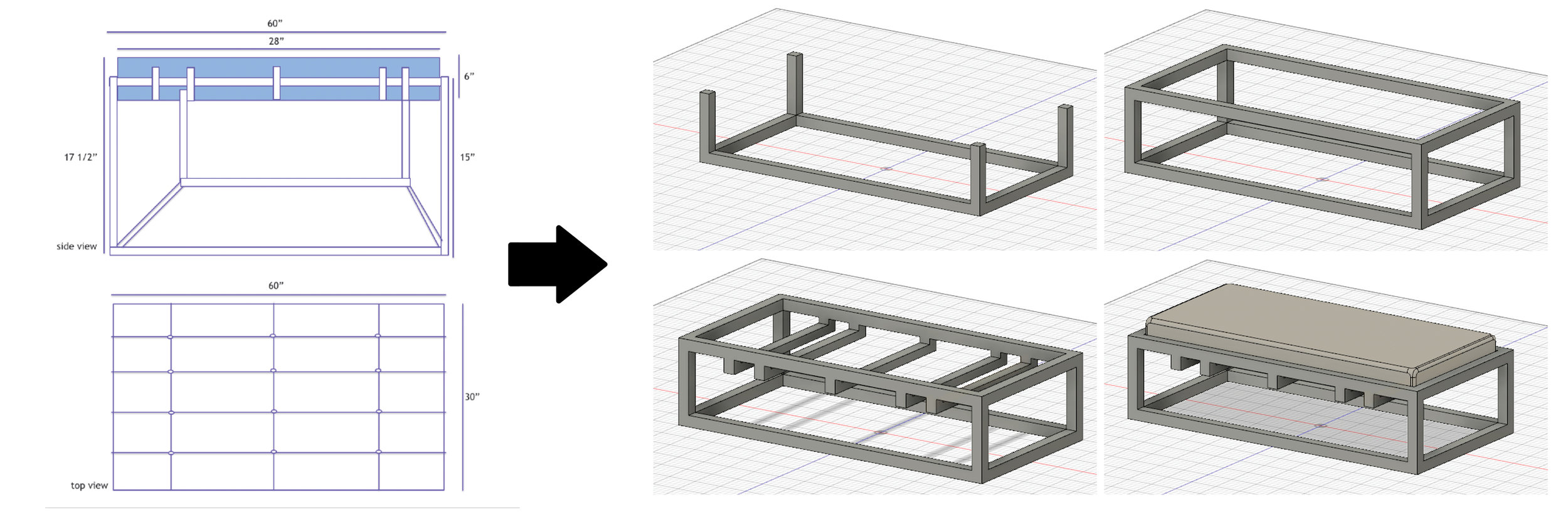 With the Enhanced 3D process, the concept sketch is converted directly into a 3D digital model with all of the dimensions and materials specification needed for production.