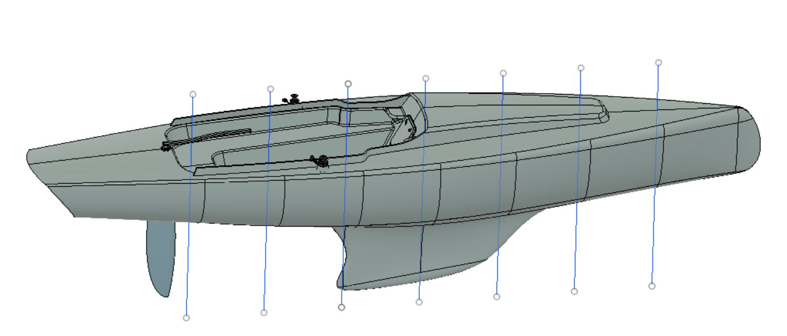 3D CAD modelling is used extensively to create the shape and capture all of the details of the hull design. These models can be accessed directly by digital patterning software. Eliminating the need for physical prototypes or drape-and-tape patterning making.