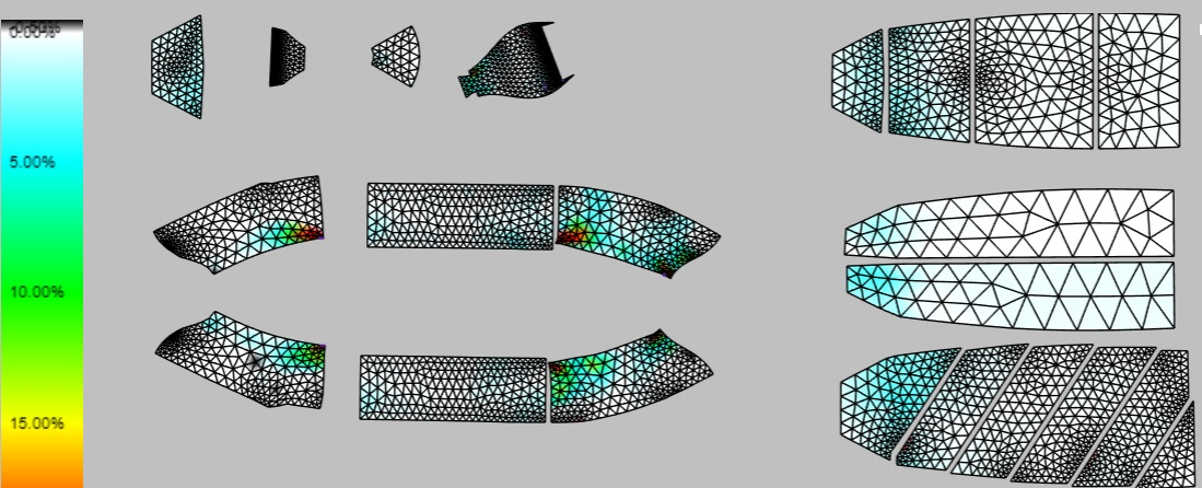Pattern pieces and composite plys, both optimize for strain and sag, are generated in minutes directly from the 3D model. This saves time, reduces errors and eliminates costs.