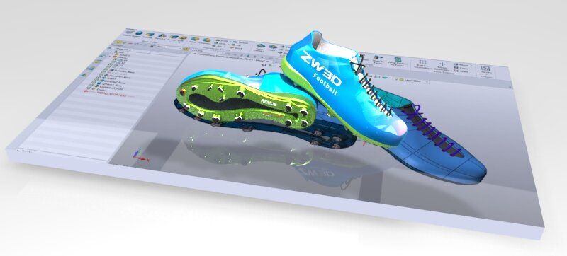 "Mass customization or ""personalization"" of footwear starts with the 3D CAD model. This virtual representation of the shoes enables the designers to validate features, catalogue components (BOM, and to create renderings used for sales and marketing."