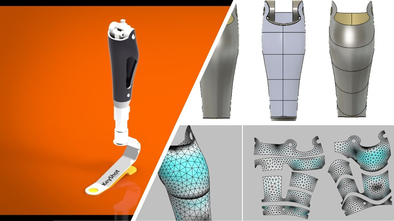 Nearly all prosthesis are developed using some combination of 3D scanning and CAD. These tools excel at maximizing flexibility in the design process as well as helping the client visualize the device. The other key advantage is that the 3D model can be used directly for flattening , ply layup creation and digital manufacturing.