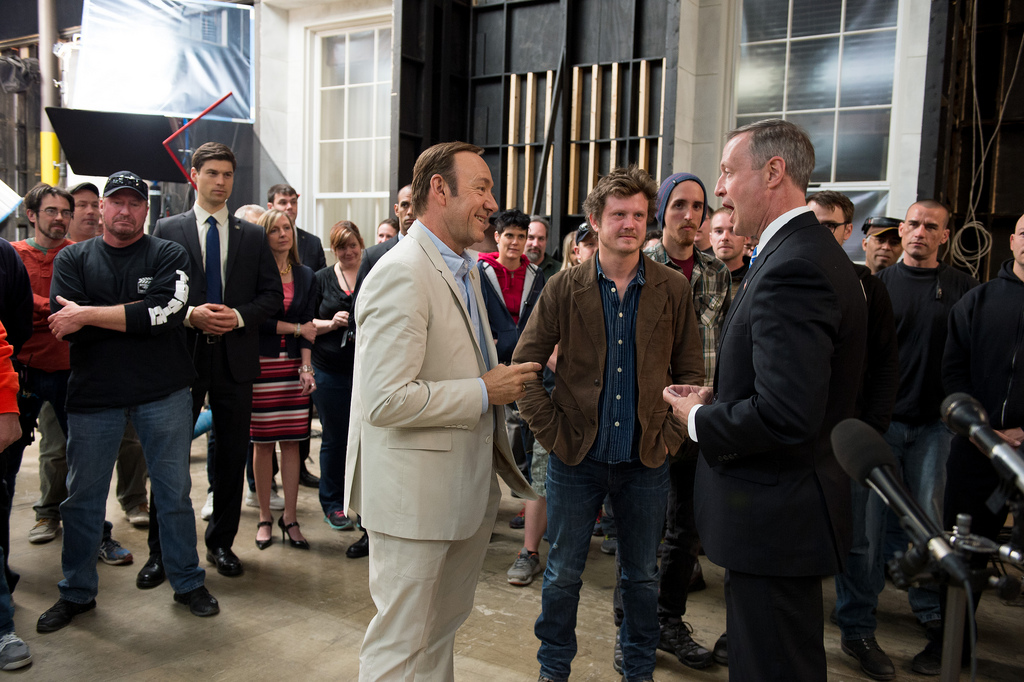 Kevin Spacey entertains a Governor on the set of  House of Cards .