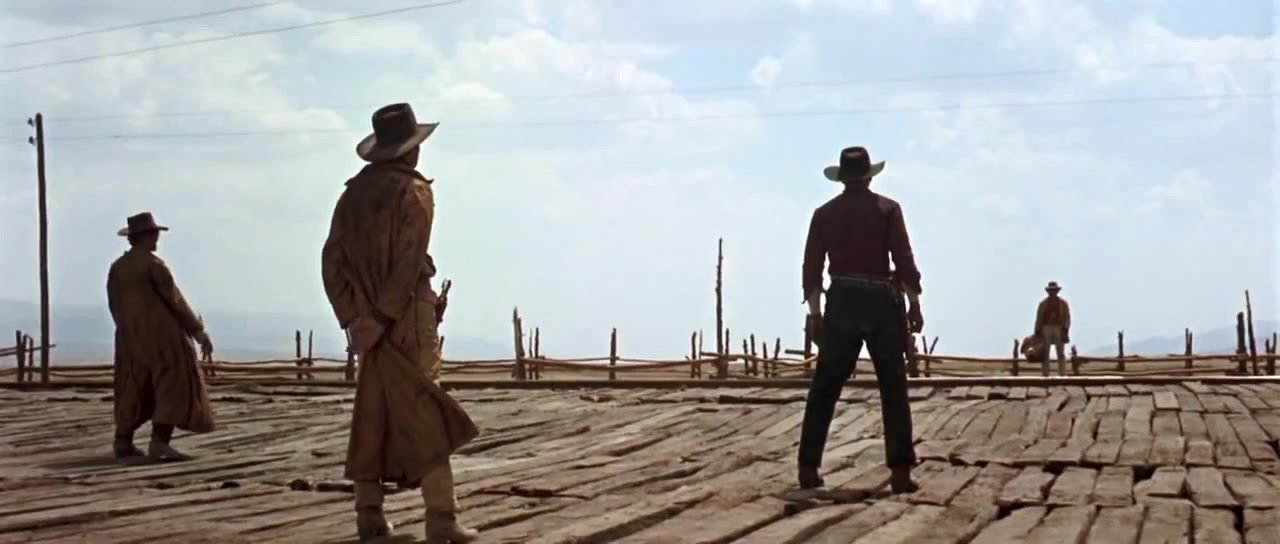 Gunslingers stand off against their target in Leone's  Once Upon a Time In the West.