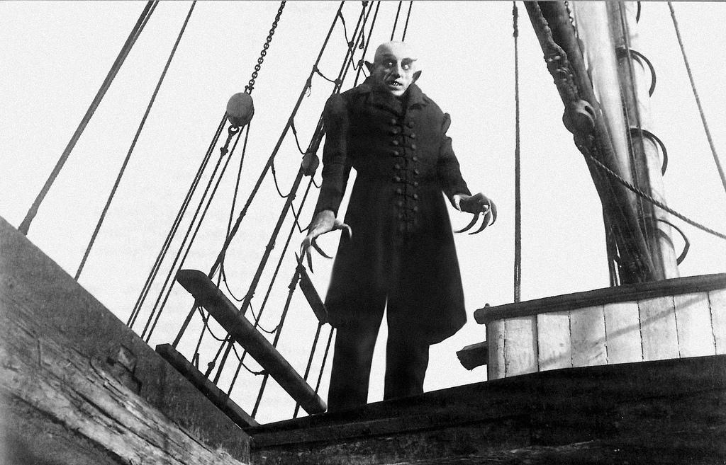 Max Schreck as Count Orlok in  Nosferatu.