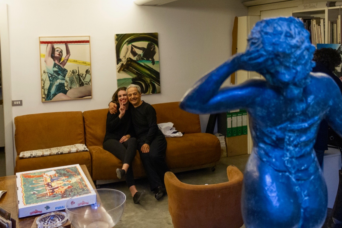 Cecilia and Tony in the Green Room after the show, with statue.