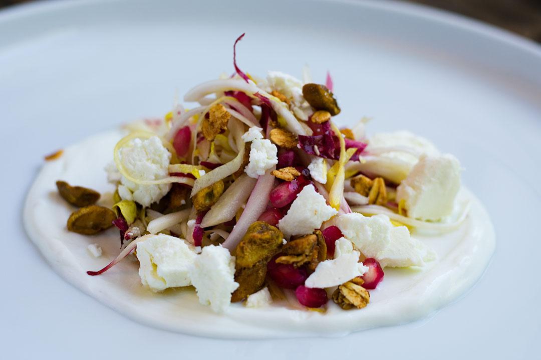 Pomegranate and Endive Salad with Pistachio Granola, Goat Cheese, Lavender Yogurt