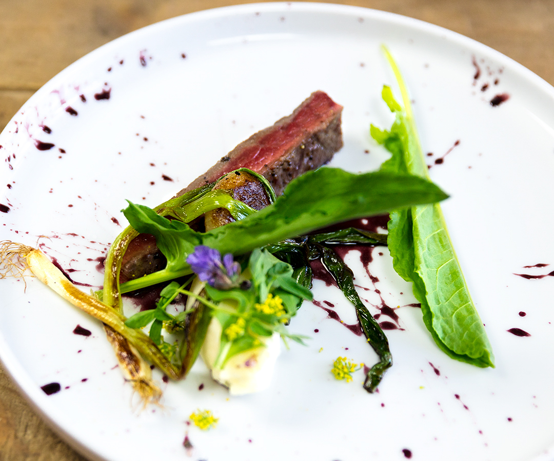 New York Steak with Farm Herbs and Flowers