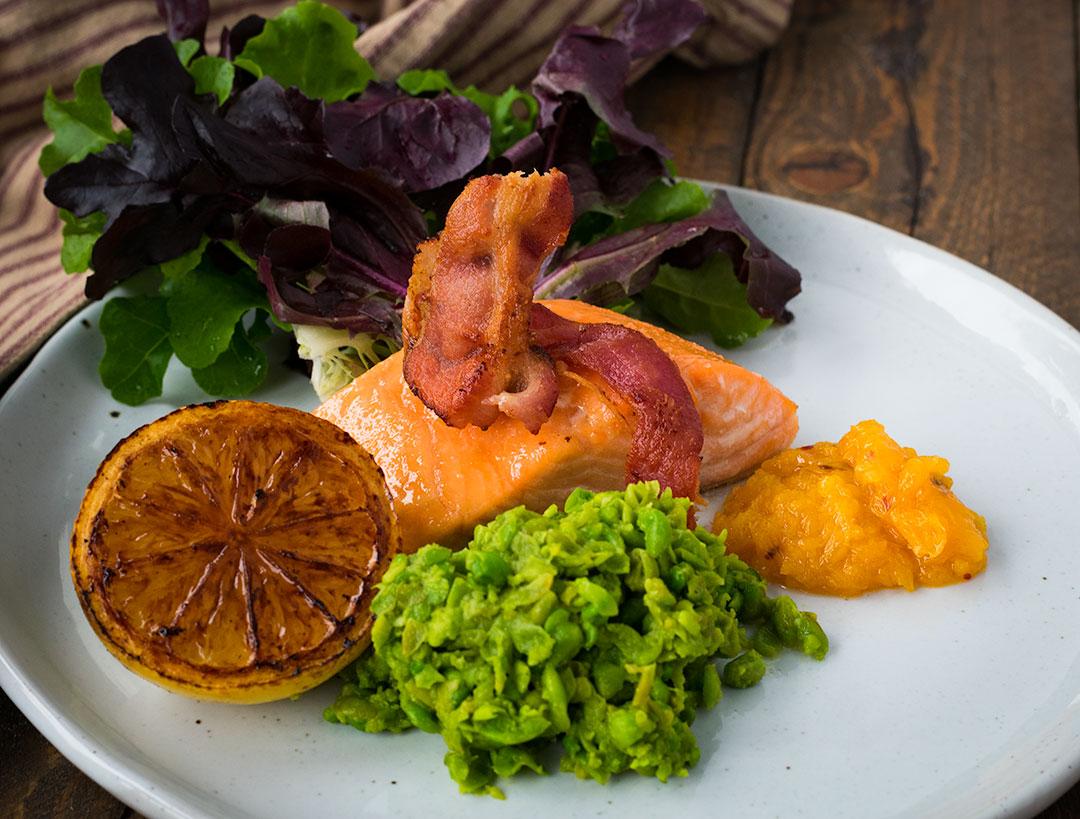 Chef Cody Beverstock I CB Cuisine I Brown Sugar-Rubbed Salmon I English Pea Mash I Clementine Chili Chutney I Red and Green Lettuces I Sherry Vinaigrette Recipe