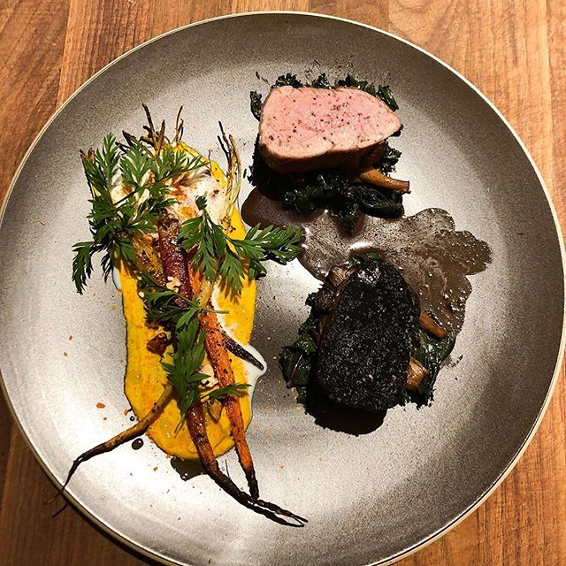 SMOKE + CHARCOAL • Smoked Pork Tenderloin (smoked for about 30 mins in Applewood) - 1/2 topped w/ Smoked Sea Salt, 1/2 buried in Charcoal I Carrot 4 Ways - Carrot Hummus Base, Sumac Roasted, Carrot Chip, Carrot Foam I Red Kale I Maitake I Pork Reduction I Pecan I Carrot Top • #cbcuisine #CreateSomethingBeautiful