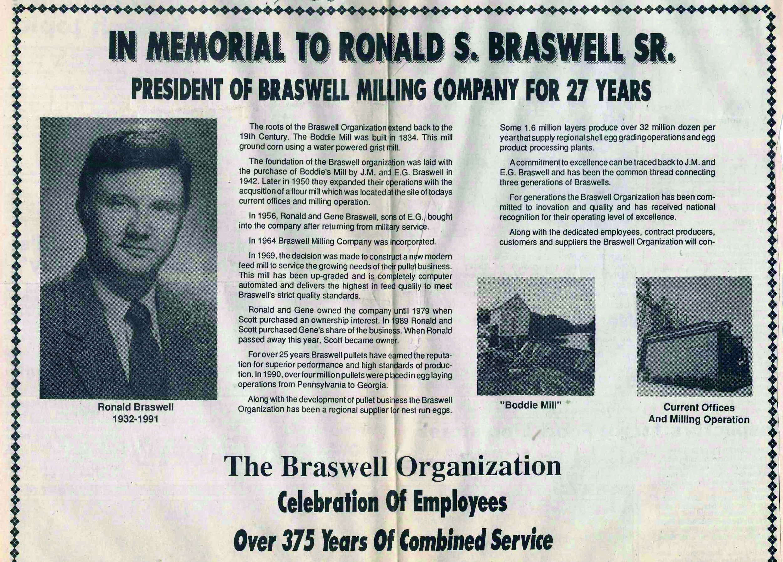 A memorial to Ronald Braswell published in the Rocky Mount Telegram in October, 1991. The memorial was published in conjunction with an employee picnic celebrating our 48th anniversary.