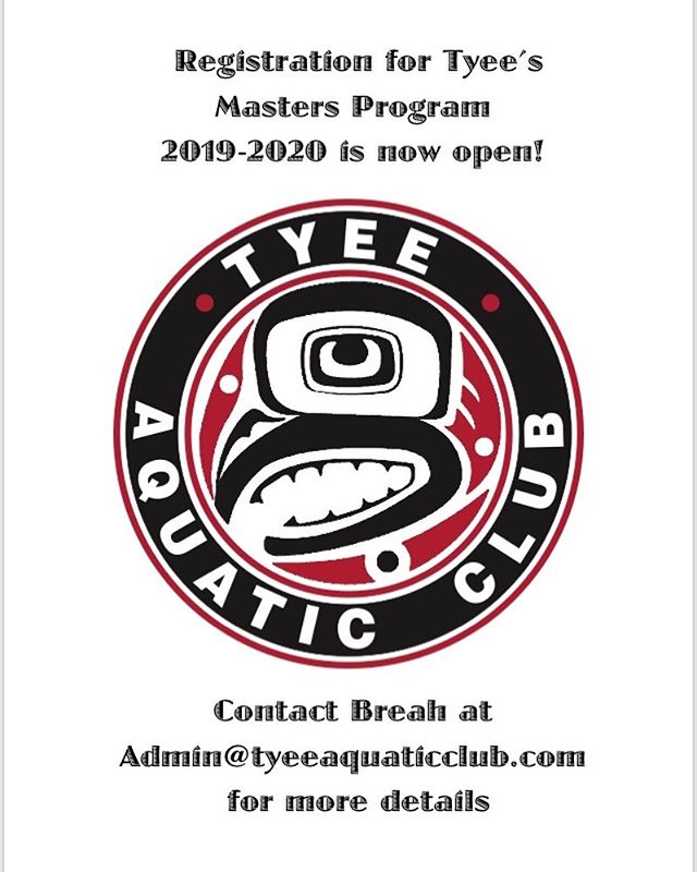 Registration is now open for the 2019-2020 masters season! Please contact Breah at admin@tyeeaquaticclub.com for more details and early bird pricing. #activeforlife #swimmingisforlife