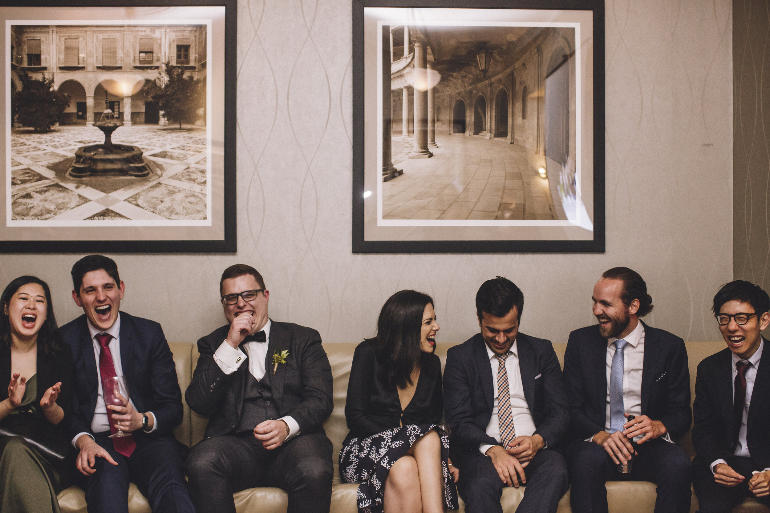 Guests laughing at wedding reception at Spicers Clovelly Estate