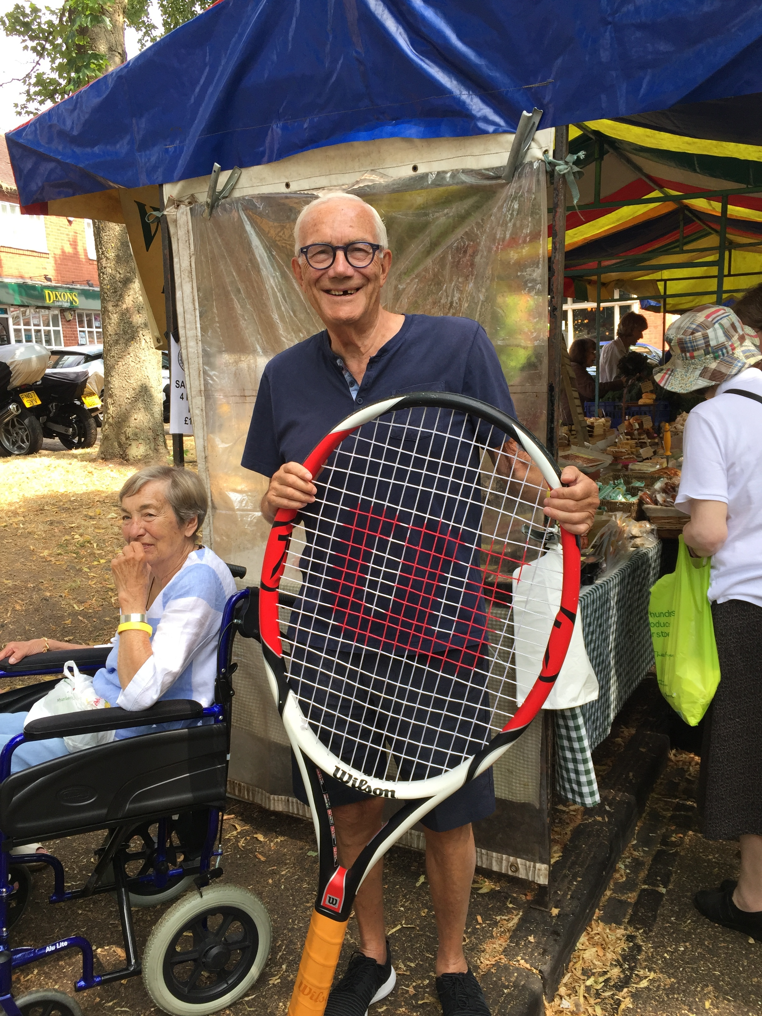 Kings Norton Tennis Club - The tennis club supported our July market and great fun was had by all - including a founding member of the market; John Bodycote!Lovely racket John, bet you hardly miss a ball with that....