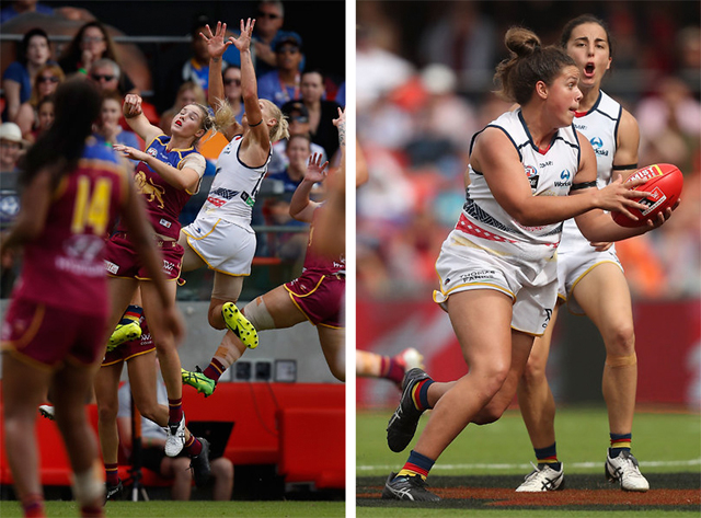 L - The Crows' Erin Phillips takes a mark (Photo by Michael Willson/AFL Media) and R - Anne Hatchard during the 2017 AFLW Grand Final (Photo by Sean Garnsworthy/AFL Media)