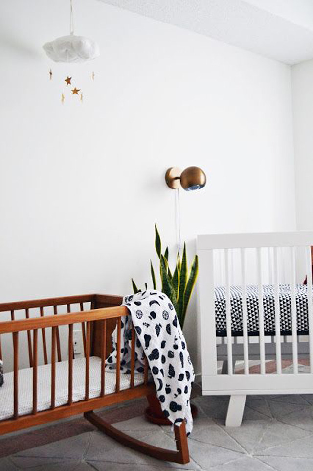 Indoor plants and a cute bassinet crib on  xomrsmeasom