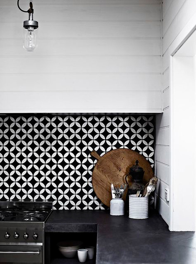 black and white tiles via  my ideal home