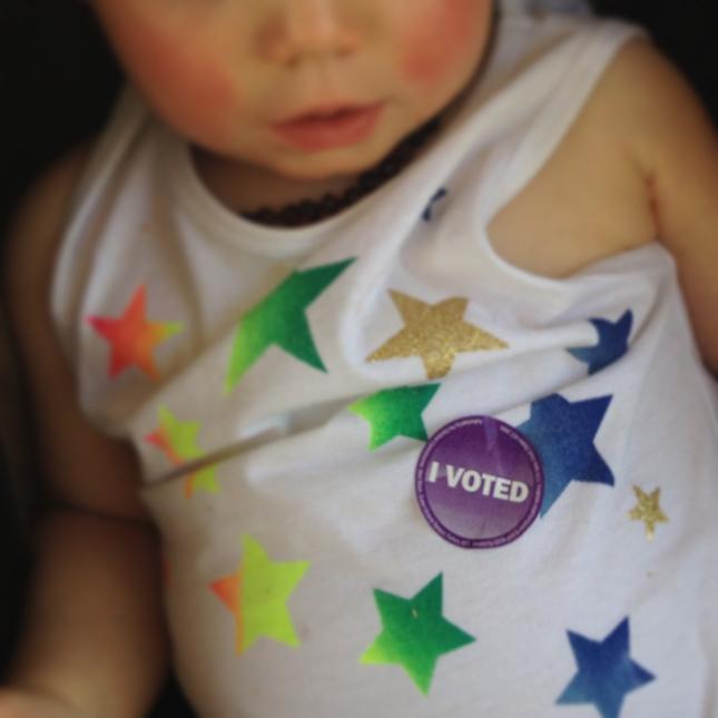 Girl in the Pjs I Voted