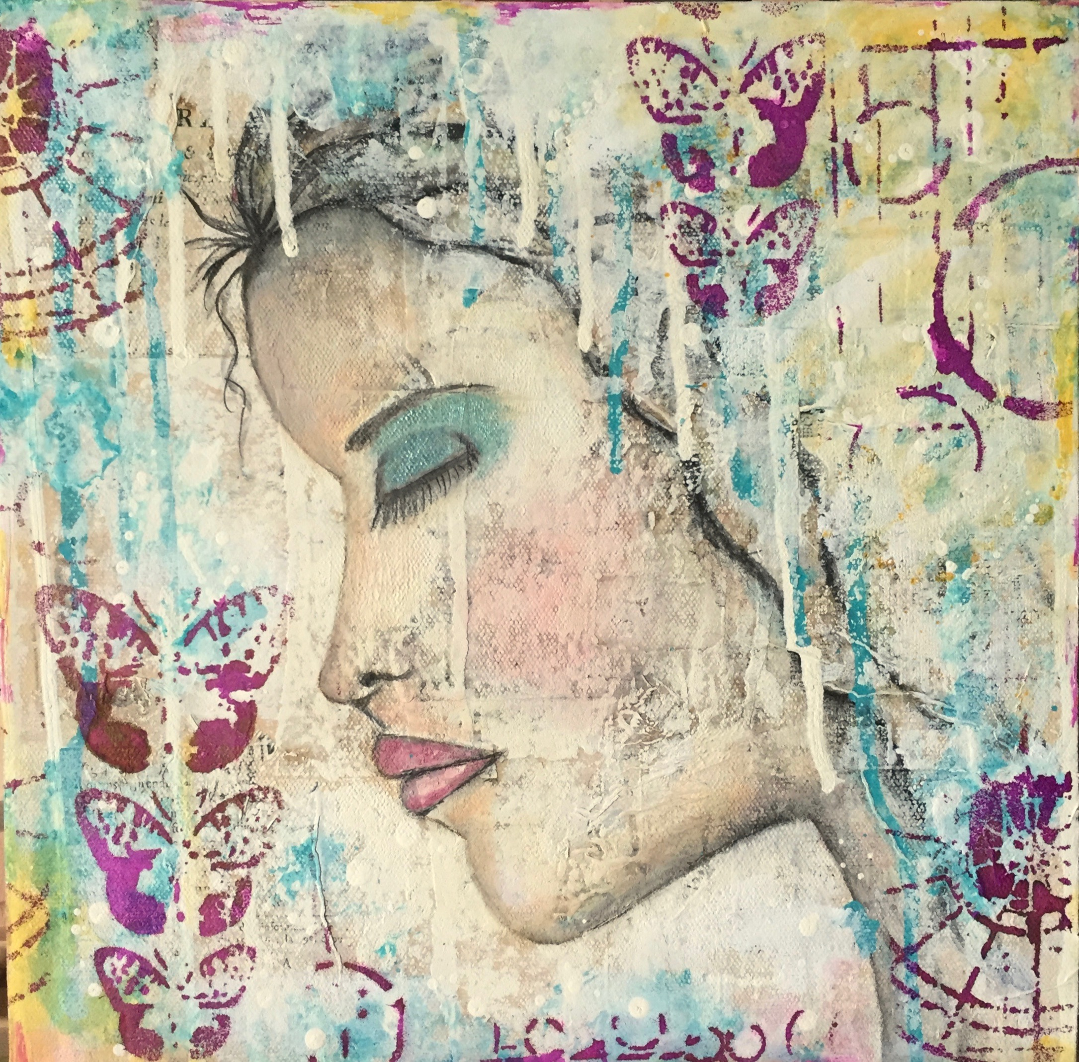 SOLD  Girl in Contemplation - Mixed Media