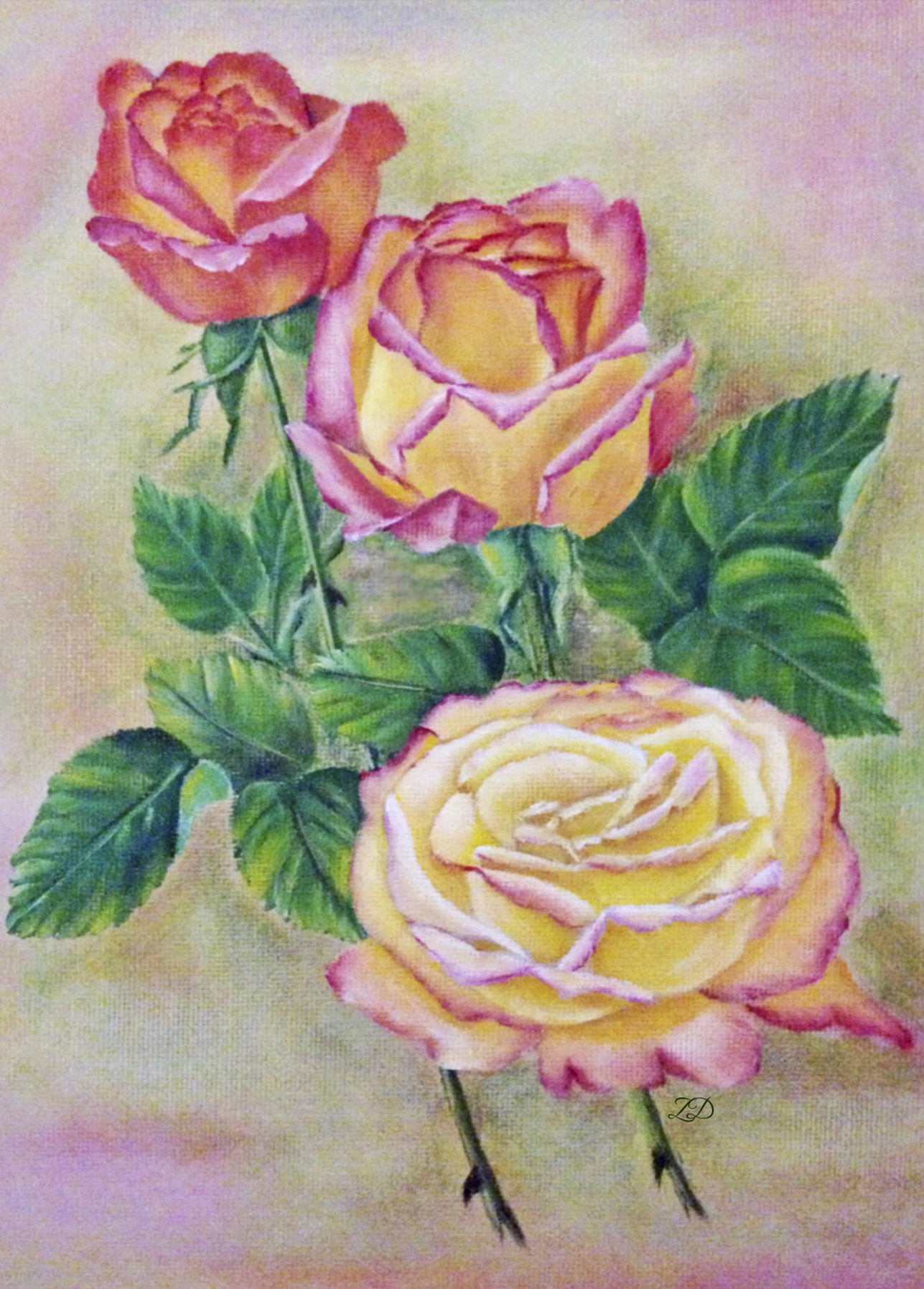 SOLD  Peace Rose - Acrylics