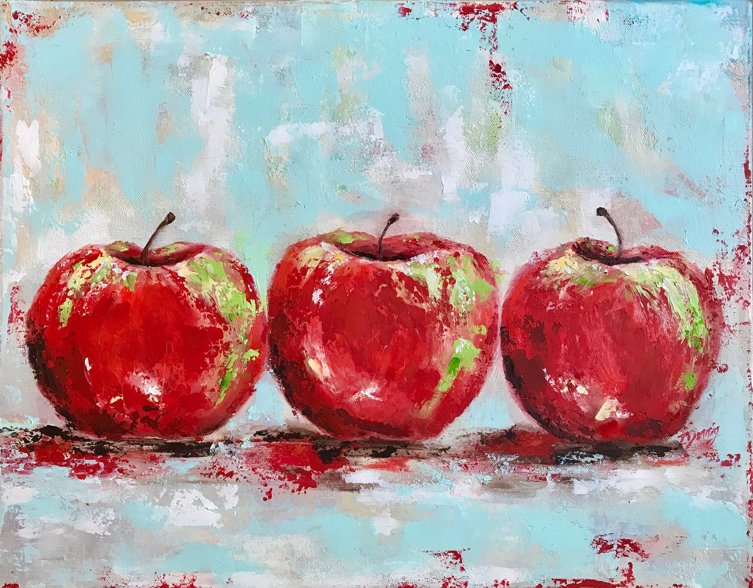 SOLD - Award Winning  Three Red Apples - Acrylics, Oils and Wax Paint