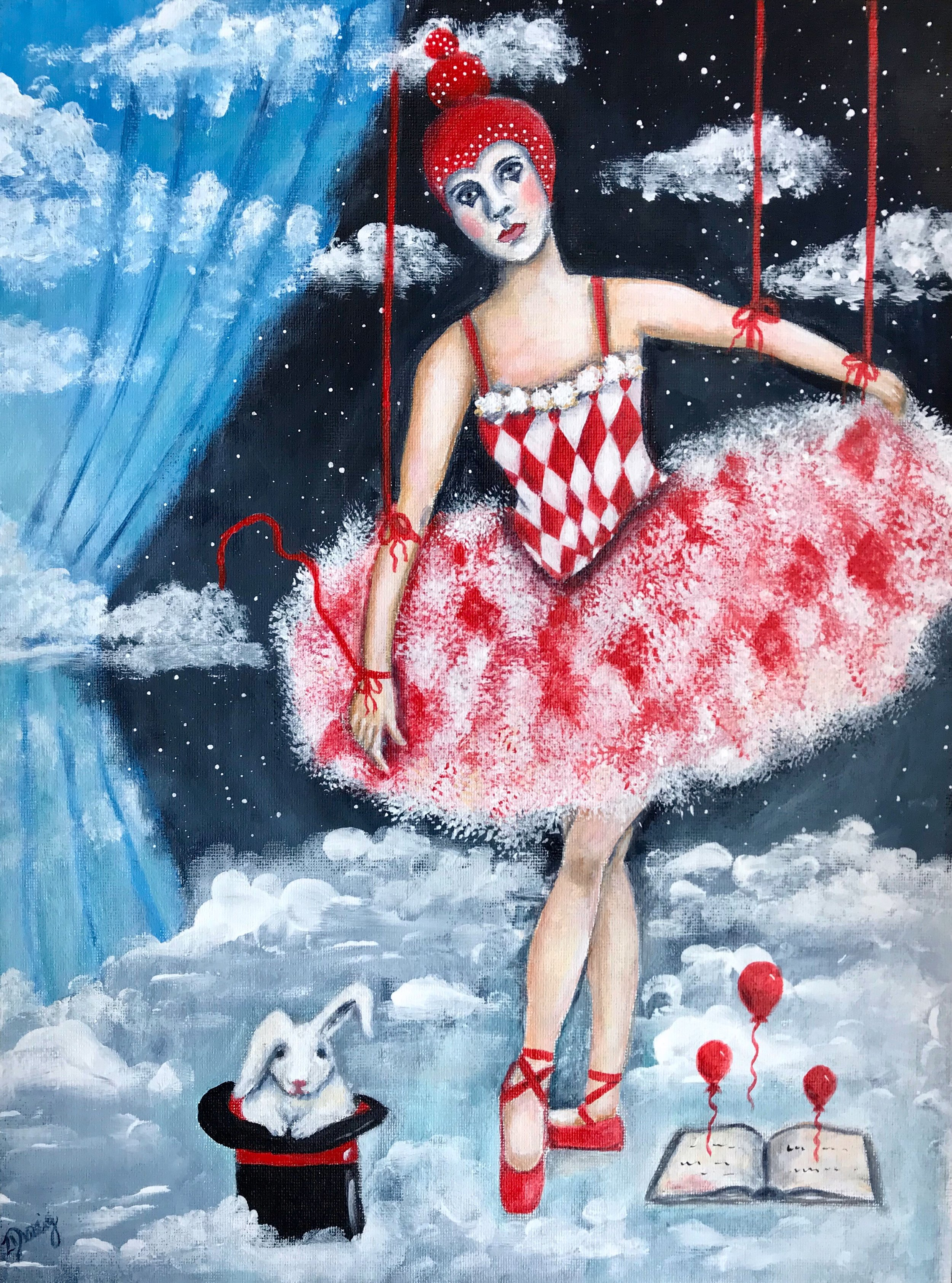 SOLD - The Puppeteer's Stage - Acrylics